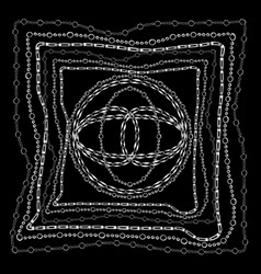 Chains bandanna square silk scarf template vector