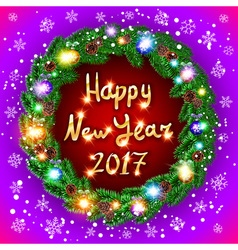Christmas happy new year 2017 green wreath vector