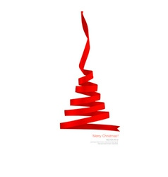 Christmas tree from Shiny red ribbon on white vector