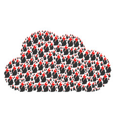 cloud shape of person stress strike icons vector image