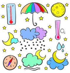 collection of weather set doodles vector image