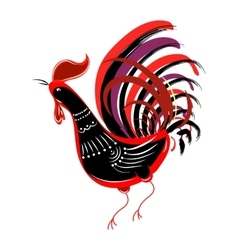 Color fire cock looking at left Chinese calendar vector