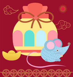 Colorful fortune bag hieroglyphs and mouse vector