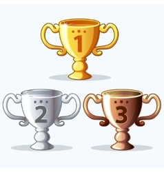 Colorful rewards goblet - gold silver and bronze vector