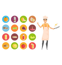 Cooking hobby food icons kitchener man vector