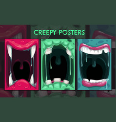Creepy halloween backgrounds monster mouth vector