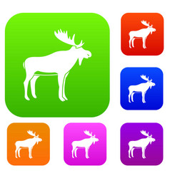 deer set color collection vector image