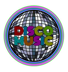 Disco ball with colored text vector