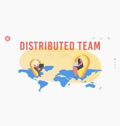 distributed outsourcing team landing page template vector image
