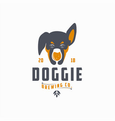 dog and glass brew logo icon vector image