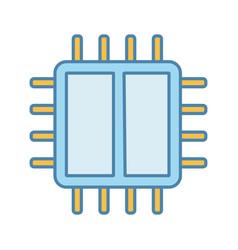 Dual core processor color icon vector