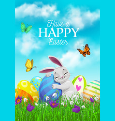 Easter holiday cartoon poster with bunny vector