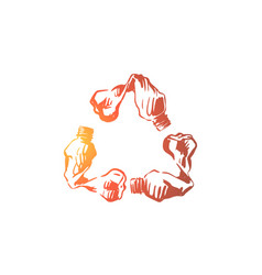 empty plastic bottles in recycle emblem shape vector image