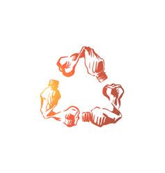 Empty plastic bottles in recycle emblem shape vector