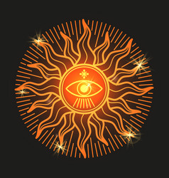 Esoteric mystery shiny sun sign on black vector