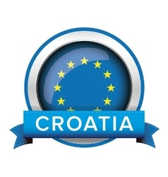 Eu flag button with croatia ribbon vector
