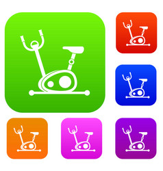 exercise bike set collection vector image