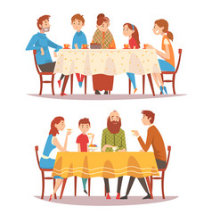 families sitting at kitchen table set happy vector image