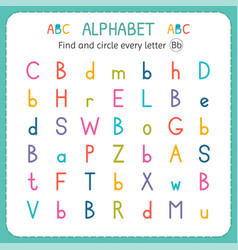find and circle every letter b worksheet for vector image