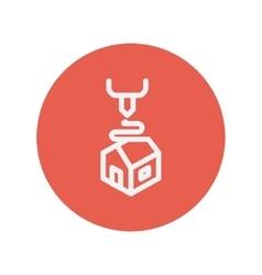 Futuristic 3D printer thin line icon vector