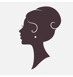 Girl Face Silhouette with Stylish Hairstyle vector image