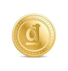 golden isolated dong coin on white background vector image