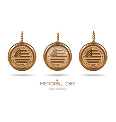 golden medallions set for memorial day in usa vector image