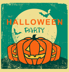 halloween party vintage card with pumpkin vector image