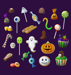 halloween sweet lollypops candies and cupcakes vector image