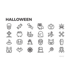 halloween thin line icons pumpkins witches vector image