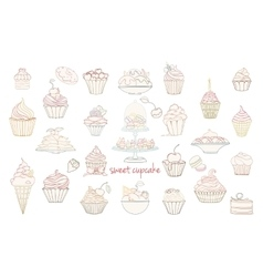 Hand drawn set of doodle style cupcakes vector