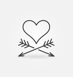 heart and two arrows concept icon in thin vector image