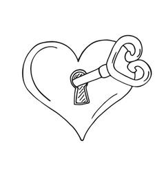 Heart-shaped lock with key vector