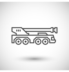Heavy mobile crane line icon vector image