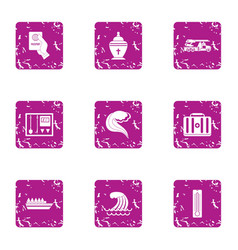 Historical homeland icons set grunge style vector