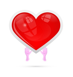 Human Hands Holding Red Heart vector image