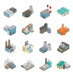 Industrial building factory icons vector