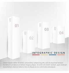 infographic four beautiful 3d white gray square vector image