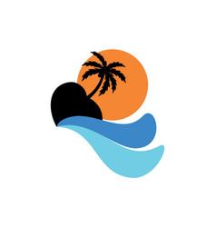 island sunset logo design icon concept vector image