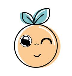 Kawaii nice funny orange fruit vector