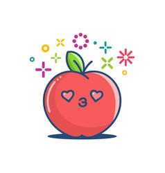 Kawaii smiling apple emoticon cartoon vector