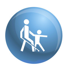 Kid guide blind man icon simple style vector