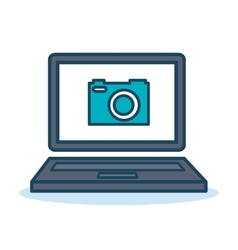 laptop camera photography design isolated vector image