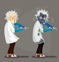 Mad scientist professor in lab coat and blue vector