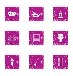Magical intervention icons set grunge style vector