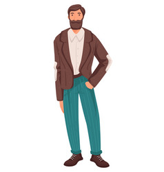 Mature man in smart outfit with beard adult vector