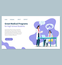 Medical programs for high school students web vector