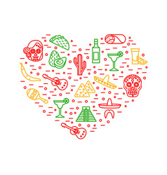 mexican travel and tourism signs thin line heart vector image