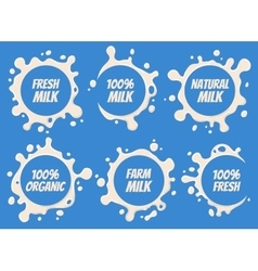 Milk Logo and Labels Designs with Lettering Set vector