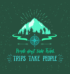 mountain and forest hand drawn travel vector image